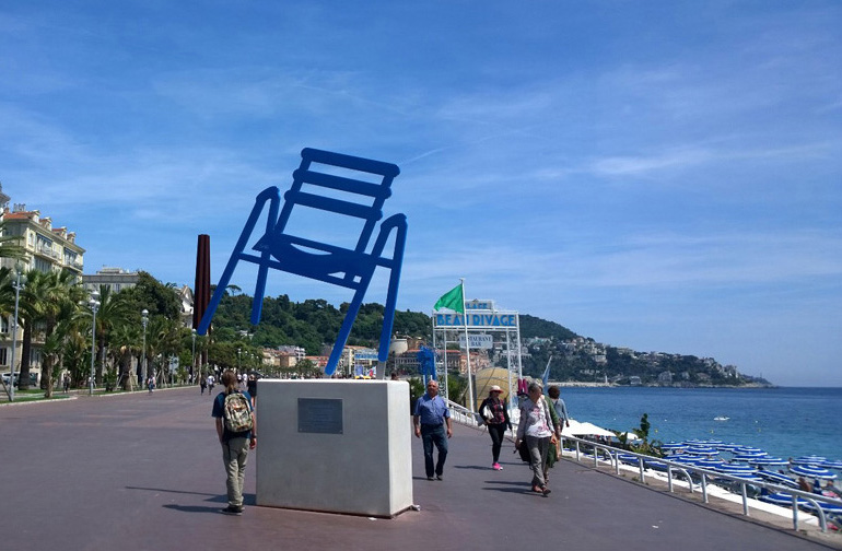Beach chair in Nice France