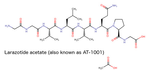 larazotide acetate structure for celiac disease