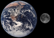 Comparison of the size of the Moon and the Earth