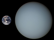 Comparison of the size of Uranus and the Earth